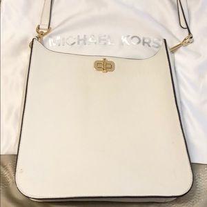 Michael Kors white crossbody leather bag